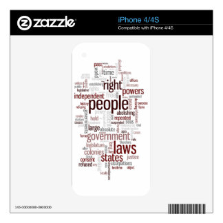 declaration of independence skins for the iPhone 4