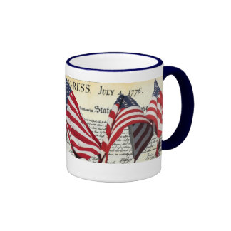 Declaration Of Independence with American flags Mugs