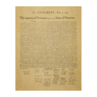 Declaration of Independence Wood Canvas