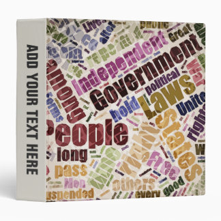 Declaration of Independence Word Cloud 3 Ring Binder