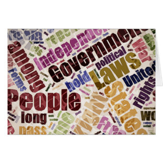 Declaration of Independence Word Cloud Card