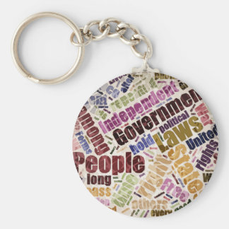 Declaration of Independence Word Cloud Keychain