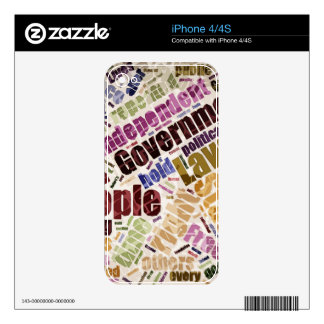 Declaration of Independence Word Cloud Decal For The iPhone 4