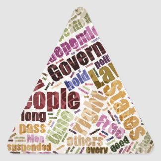 Declaration of Independence Word Cloud Triangle Sticker