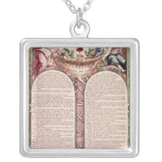 Declaration of the Rights of Man, 1793 Square Pendant Necklace