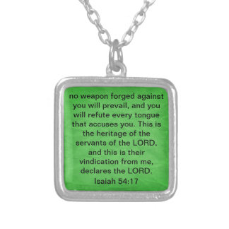 declares the Lord bible verse Isaiah 54:17 Square Pendant Necklace