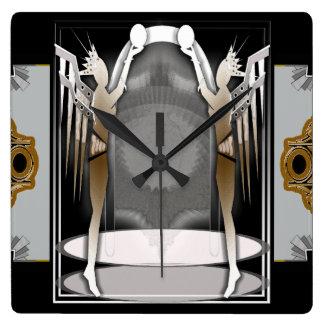 deco angels square wall clock