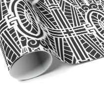 Deco Architectural Pattern, Black and White Wrapping Paper