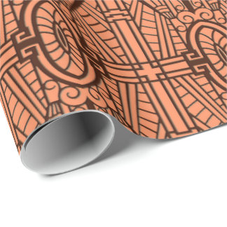Deco Architectural Pattern, Copper and Brown Wrapping Paper