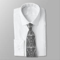 Deco Architectural Pattern, Silver Gray / Grey Tie
