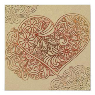 Deco Art Cream Heart Wedding Invitation