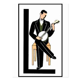 Deco Banjo Postcard
