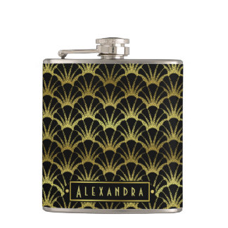 Deco Black Gold Scallop Shells Fan Custom Hip Flask