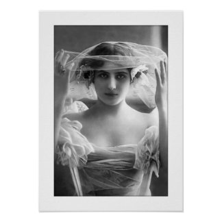 deco bride black and white veil poster