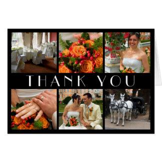 Deco chic black 6 photos collage wedding thank you card