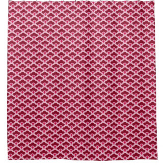 Deco Chinese Scallops, Burgundy Wine and Pink Shower Curtain