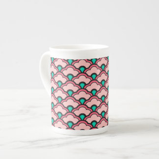Deco Chinese Scallops, Coral Pink and Turquoise Tea Cup