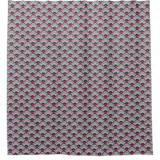 Deco Chinese Scallops, Grey / Gray, Black and Pink Shower Curtain