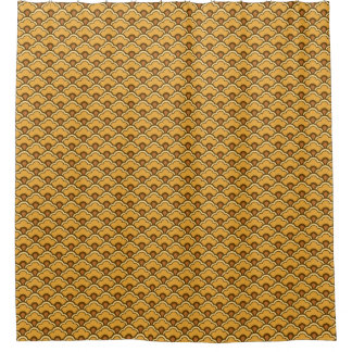 Deco Chinese Scallops, Mustard Gold and Brown Shower Curtain