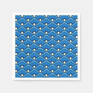 Deco Chinese Scallops, Ocean Blue and Indigo Napkin