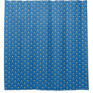 Deco Chinese Scallops, Ocean Blue and Indigo Shower Curtain