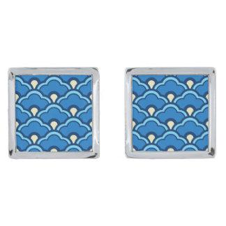 Deco Chinese Scallops, Ocean Blue and Indigo Silver Cufflinks