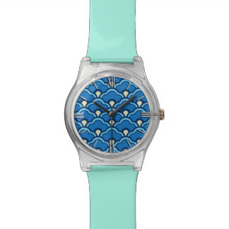 Deco Chinese Scallops, Ocean Blue and Indigo Wrist Watches