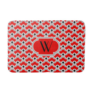 Deco Chinese Scallops, Red, Grey, Black and White Bath Mat