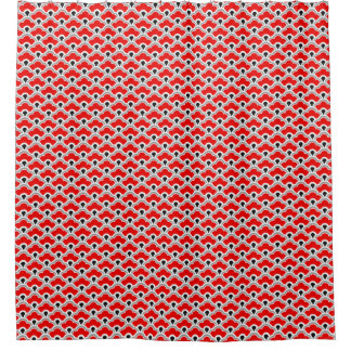 Deco Chinese Scallops, Red, Grey, Black and White Shower Curtain