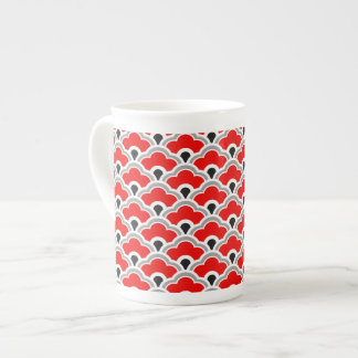 Deco Chinese Scallops, Red, Grey, Black and White Tea Cup