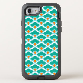Deco Chinese Scallops, Teal, Aqua and Coral OtterBox Defender iPhone 7 Case