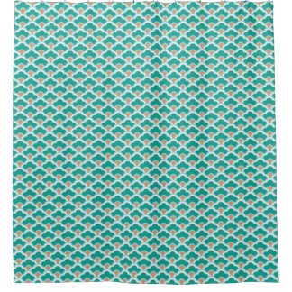 Deco Chinese Scallops, Teal, Aqua and Coral Shower Curtain