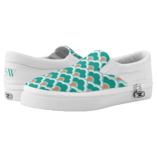 Deco Chinese Scallops, Teal, Aqua and Coral Slip-On Sneakers