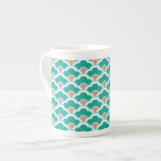 Deco Chinese Scallops, Teal, Aqua and Coral Tea Cup