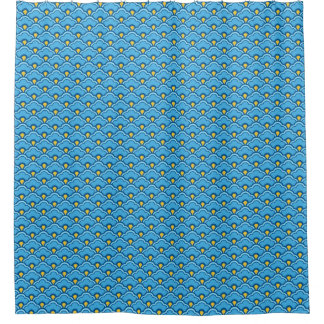 Deco Chinese Scallops, Turquoise and Aqua Shower Curtain