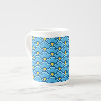 Deco Chinese Scallops, Turquoise and Aqua Tea Cup