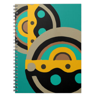 Deco Circle in Gold and Teal Spiral Notebook