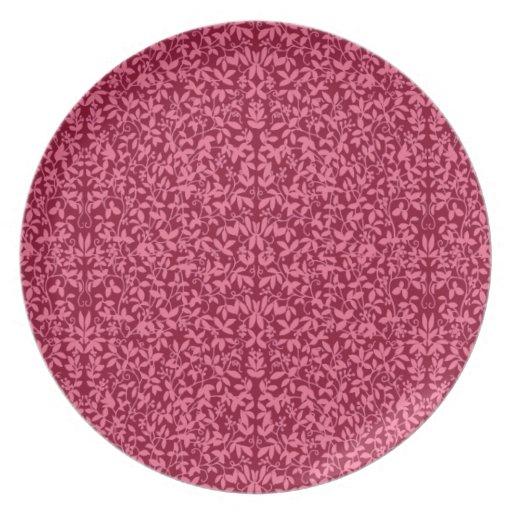 Deco Cranberry Floral Vines Plate