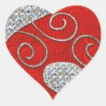Deco de plata rojo 1 pegatina del corazón