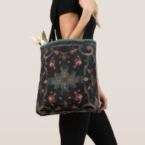 Deco Distressed Boho Pattern Muted Pinks on Dark Tote Bag