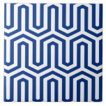 "Deco Egyptian motif - cobalt blue and white Ceramic Tile<br><div class=""desc"">An Art Deco,  Egyptian inspired geometric motif in deep cobalt blue on a white background</div>"