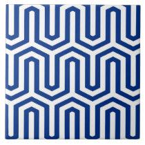 Deco Egyptian motif - cobalt blue and white Ceramic Tile