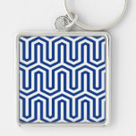 Deco Egyptian motif - cobalt blue and white Keychains