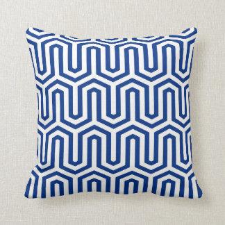 Deco Egyptian motif - cobalt blue and white Throw Pillows