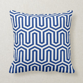 Deco Egyptian motif - cobalt blue and white Throw Pillow
