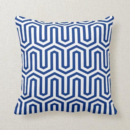 Deco Egyptian motif - cobalt blue and white Throw Pillows Zazzle