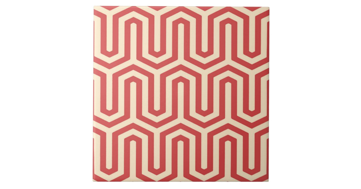 Deco Egyptian Motif Coral Orange Ceramic Tile Zazzle