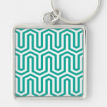 Deco Egyptian motif - turquoise and white Key Chain