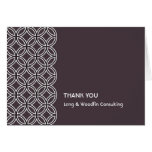 Deco espresso brown circle pattern thank you card