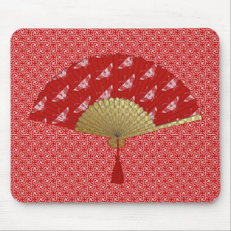 Deco Fan -  Butterflies, Dark Red and White Mouse Pad
